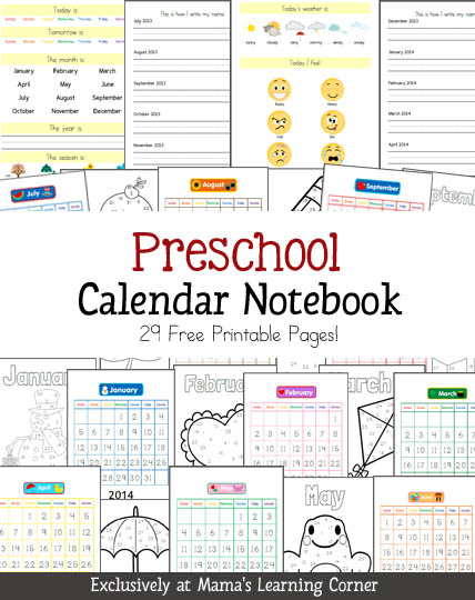 Calendar Printables For Preschool : Free preschool calendar notebook printables set