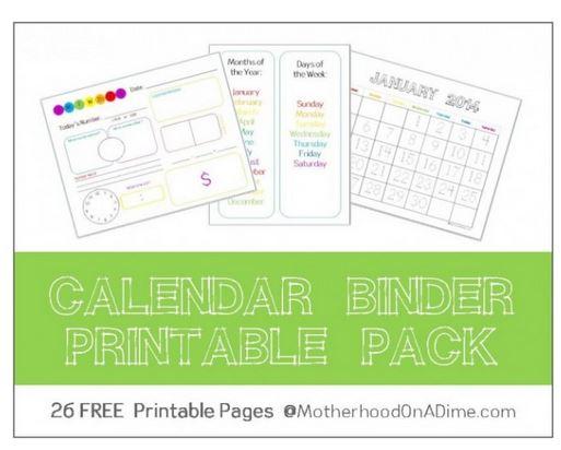 Calendar Notebook Homeschool : Free calendar binder printables for august july
