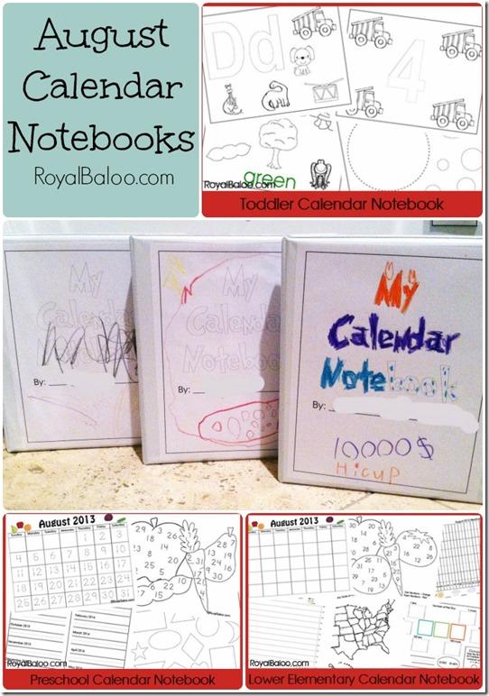 Calendar Notebook Homeschool : Free calendar notebook printable sets for toddler