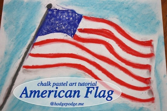 American Flag Chalk Pastel Art Tutorial