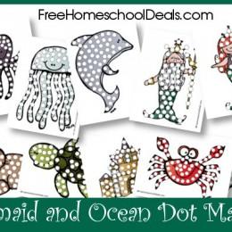 Free Mermaid and Ocean Dot Marker Printables