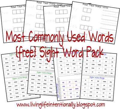 Free Worksheet Printables: Most Commonly Used Words