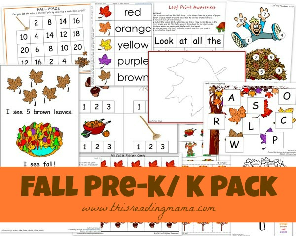 FREE Fall PreK/K Printable Worksheet Pack