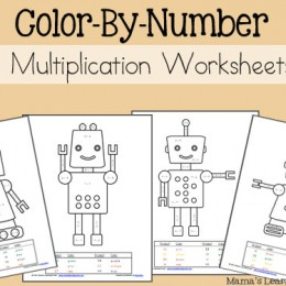 Free Color by Number Worksheets (PreK-2)