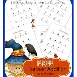 Addition Worksheets: Free Harvest Packet