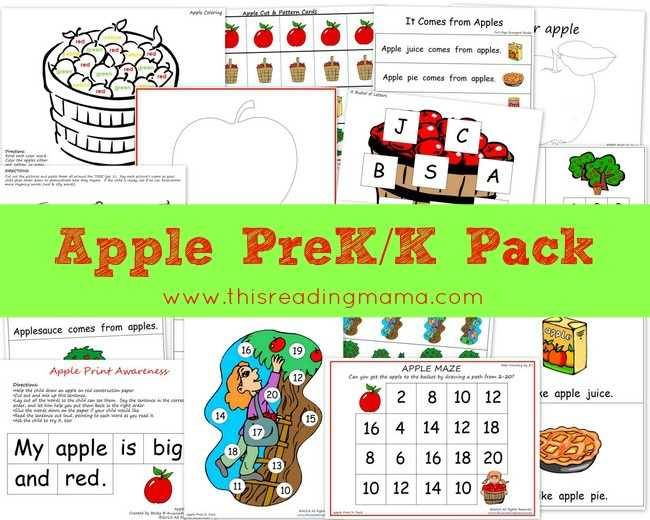 FREE Apple PreKK Printable Worksheet Pack – Pre K Worksheets Printable