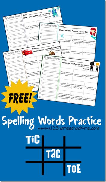 Spelling Word Practice Tic- Tac-Toe