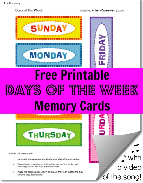 Free Printable Days for the Week Cards