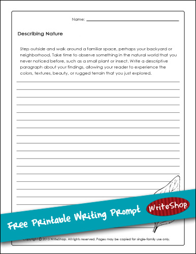 It's just a graphic of Refreshing Printable Writing Prompt