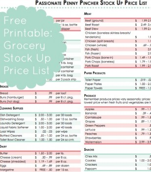 Free Printable Grocery Stock Up Price List Free