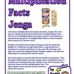 FREE Multiplication Facts Jenga Game
