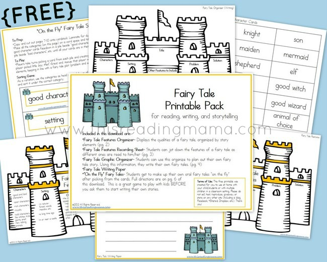 free fairy tale printable set reading writing and storytelling free homeschool deals. Black Bedroom Furniture Sets. Home Design Ideas