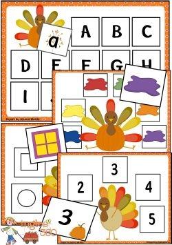 Free Turkey Themed Playdoh Mats File Folder Game Pack