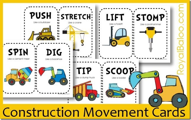 Free Construction Movement Card Printables