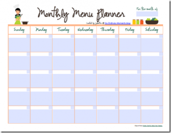 It is a photo of Satisfactory Printable Monthly Menu Planner
