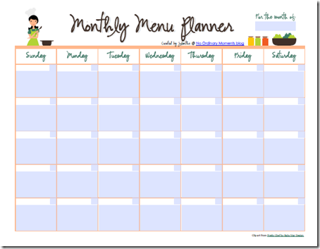 Free Editable Monthly Menu Planner | Free Homeschool Deals