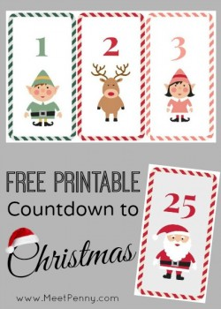 Christmas: Free Printable Countdown to Christmas