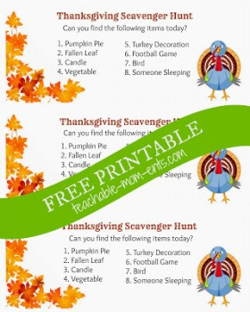Thanksgiving: Free Printable Scavenger Hunt