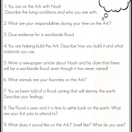 Free Noah's Ark Writing Prompts Printable