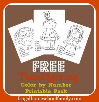 free worksheets thanksgiving color by number set free homeschool deals. Black Bedroom Furniture Sets. Home Design Ideas
