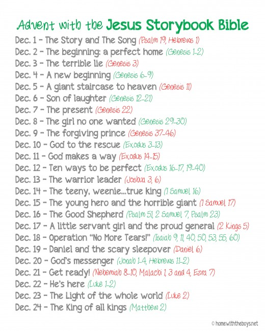 Free Printable The Jesus Storybook Bible Advent Reading Plan