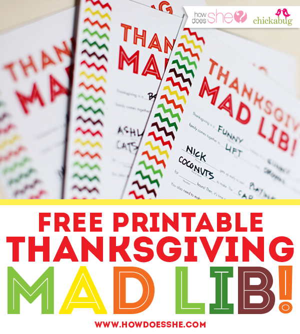 Free Thanksgiving Mad Lib Printable – Thanksgiving Worksheets for Middle School