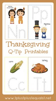 Free Thanksgiving Q-Tip Painting Printables