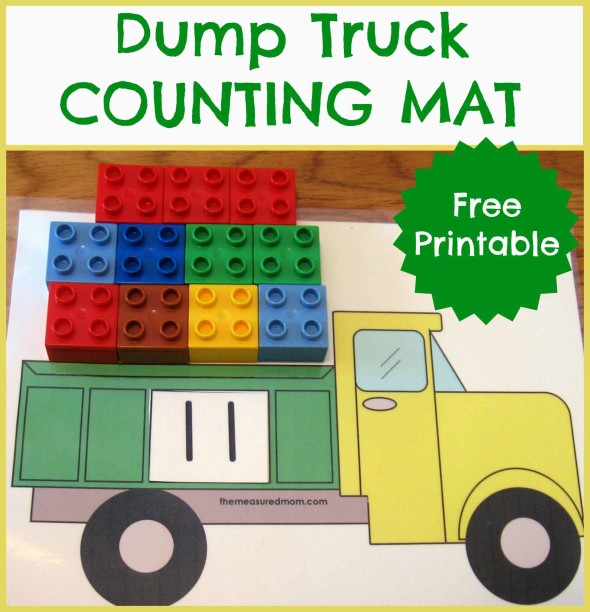 Free Printable Counting Mat Fill The Dump Truck Free