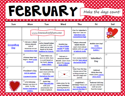 Free February Activity Calendar For Homeschool  Free Homeschool