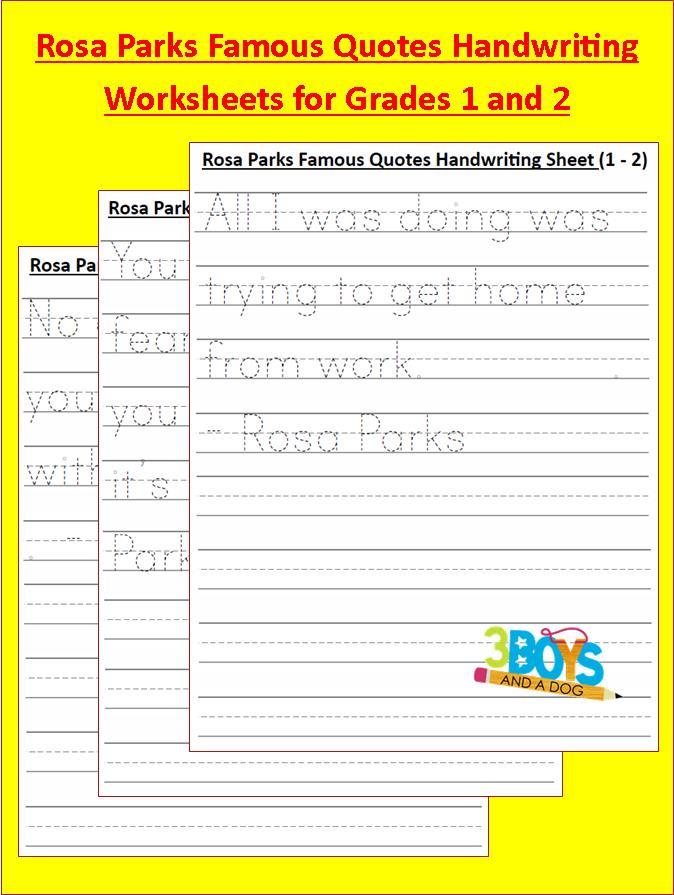Black History Month Free Rosa Parks Handwriting Worksheets – Rosa Parks Worksheets