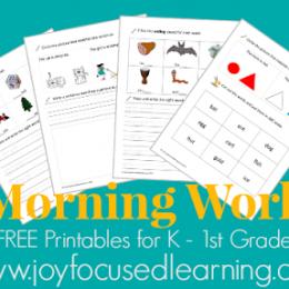 Morning Work Printables for K – 1st Grade