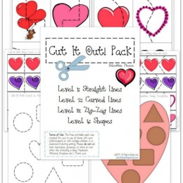 Valentines Printables: FREE Cutting Practice Pack for Valentines