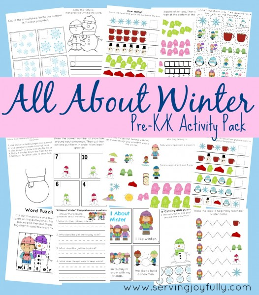 free kindergarten printables 25 pages winter set free homeschool deals. Black Bedroom Furniture Sets. Home Design Ideas