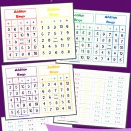 Free Printable Addition Bingo Worksheets