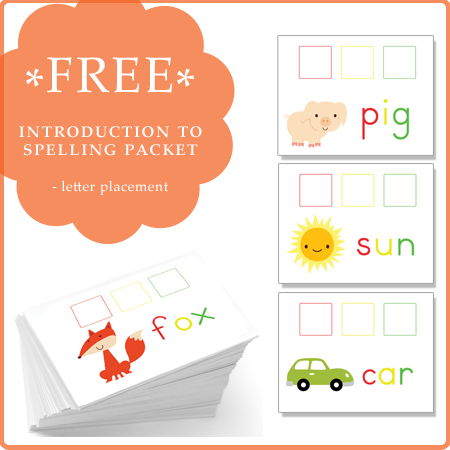 Free Introduction to Spelling Packet