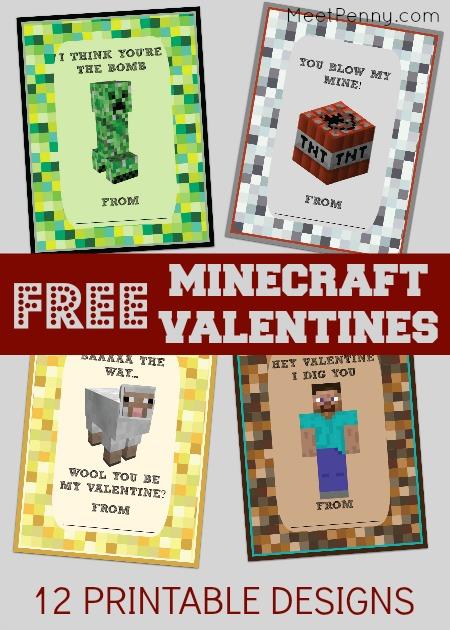 free minecraft valentines - Free Printable Valentine Cards For Kids