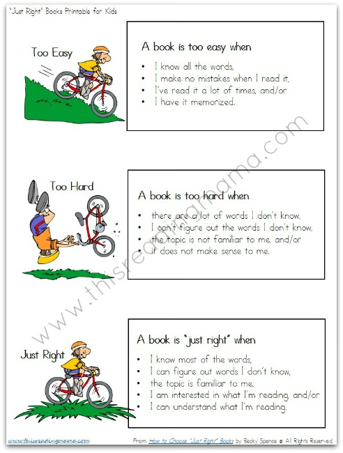 """Free Printable: Helping Kids Identify """"Just Right"""" Books ..."""