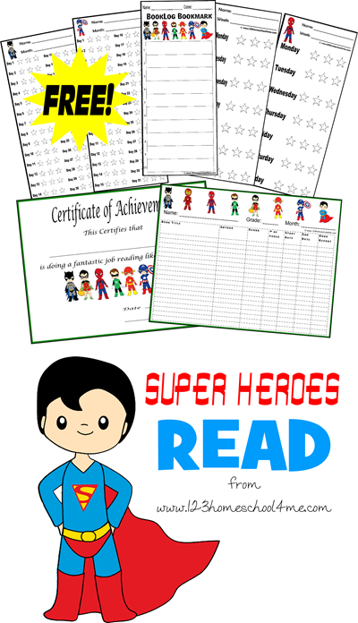 Super Heroes Reading Log