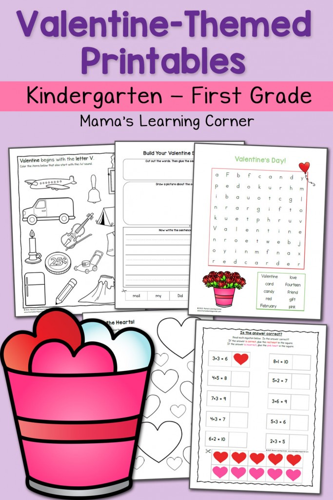 Valentine Worksheets Kindergarten First Grade