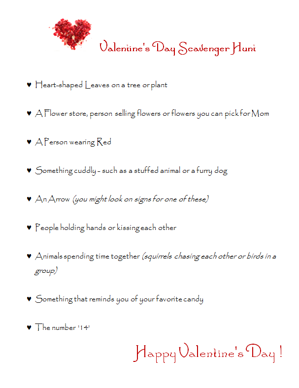 free valentine scavenger hunt printable | free homeschool deals ©, Ideas