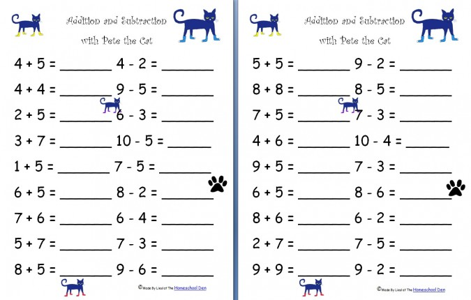 Free Worksheets: Addition and Subtraction with Pete the Cat | Free ...