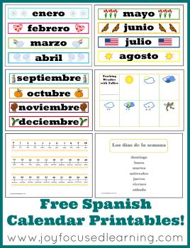 free spanish calendar time printables free homeschool deals. Black Bedroom Furniture Sets. Home Design Ideas