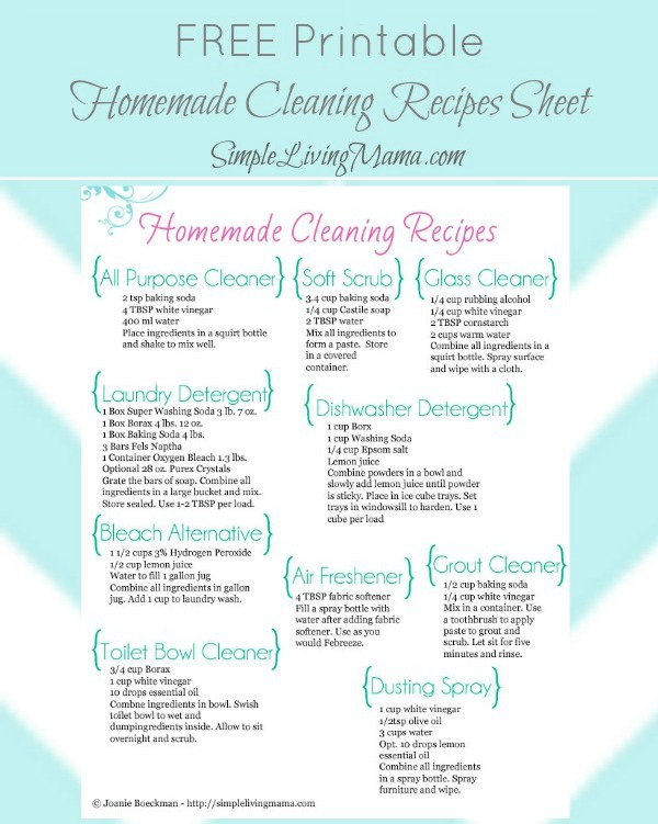 Free homemade cleaners cheat sheet free homeschool deals - Home made cleaning products ...