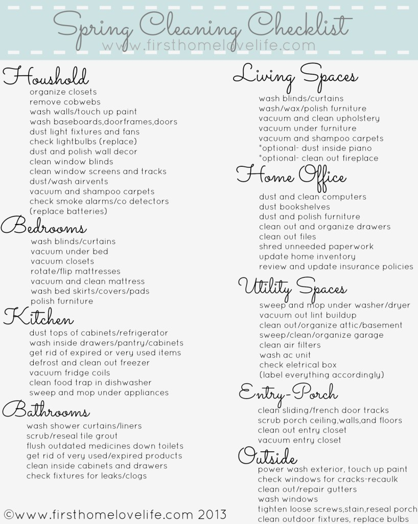 This is a photo of Soft Printable Spring Cleaning Checklist