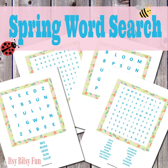 Spring Wordsearch For Kindergarten: Free Printable Spring Word Search Puzzles