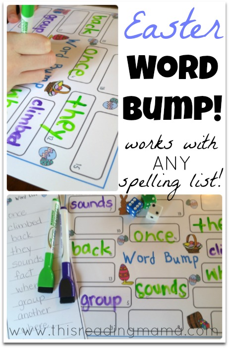 free easter themed word bump  works with any spelling list