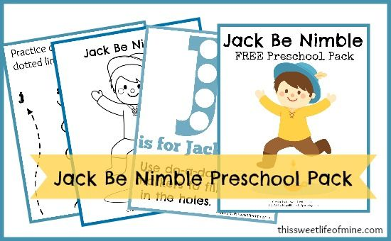 free jack be nimble preschool printables pack free homeschool deals. Black Bedroom Furniture Sets. Home Design Ideas