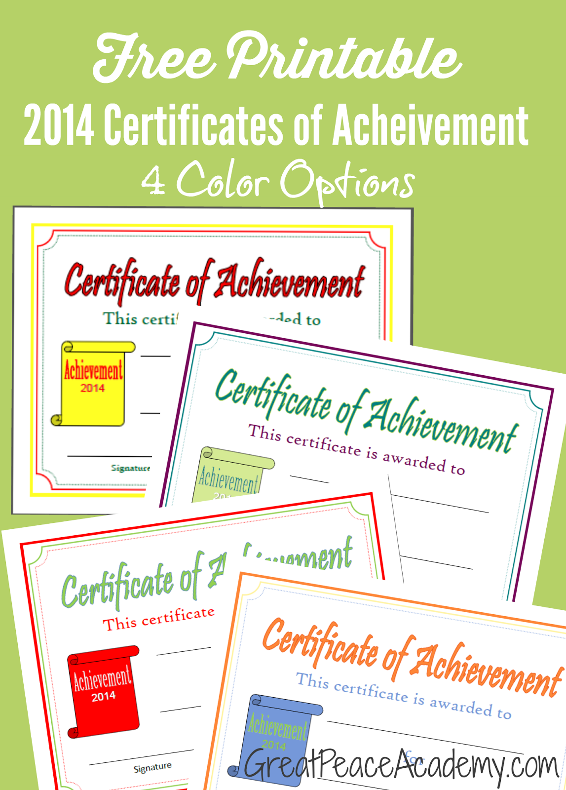 Printable Certificates of Acheivement