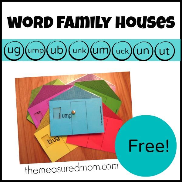 Free Word Family Houses – Short u Printables   Free ...