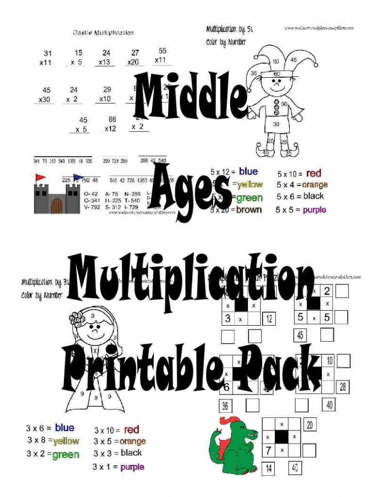 Free Middle Ages Multiplication Worksheets Printable Pack – Middle Ages Worksheets